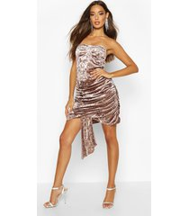 textured velvet bandeau dress, mocha