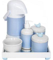 kit higiene espelho completo porcelanas, garrafa e capa passarinho azul quarto beb㪠menino - azul - menino - dafiti