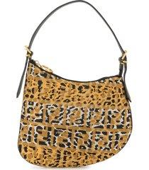 fendi pre-owned ff leopard print shoulder bag - brown
