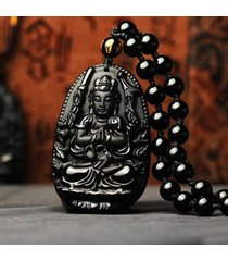 collana con pendente di obsidian avalokitesvara