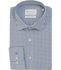 michaelis overhemd blauw wit ruit slim fit