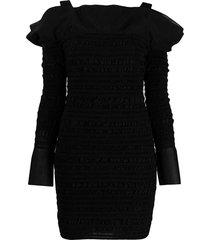hervé léger shirred off-shoulder mini dress - black