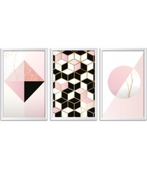 conjunto kit 3 quadro oppen house s 60x120cm escandinavo narvi com vidro e moldura branca      quadro oppen house s decorativos - branco - dafiti