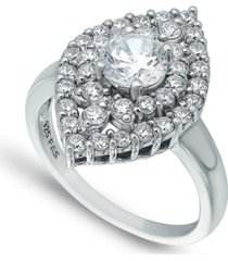 cubic zirconia 2 row kite halo with round prong center stone ring in fine silver plate