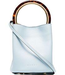 marni blue pannier leather resin handle bucket bag