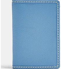 blue leather card holder - blue