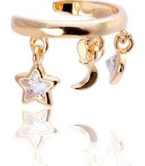 brinco piercing pingentes cristais banhado a ouro 18k