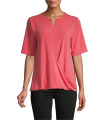 t tahari women's short-sleeve stretch top - spring tulip - size m