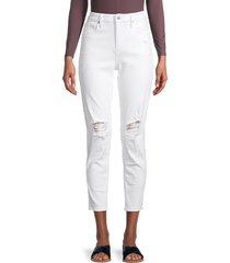 driftwood women's gizelle distressed cropped jeans - white - size 27 (4)