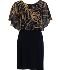 connected petite printed chiffon-overlay a-line dress