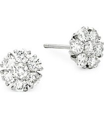 bridal 18k white gold & 1.50 tcw diamond cluster stud earrings