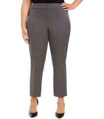 kasper plus size pin-dot straight-leg dress pants