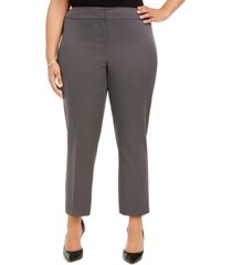 kasper plus size pin-dot straight-leg dress pants