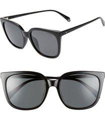 women's polaroid 56mm polarized rectangular sunglasses - black/ grey polarized