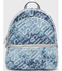 mochila manhattan large backpack denim azul guess