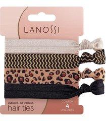 elã¡stico de cabelo lanossi hair ties animal print 4 unidades - incolor - dafiti