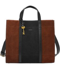 fossil women's carmen suede shopper
