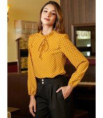 yoins blusa amarilla con lunares anudados