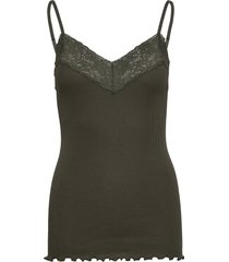 organic strap top regular w/lace t-shirts & tops sleeveless grön rosemunde