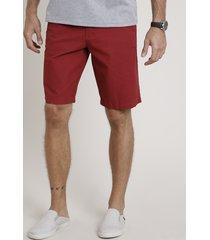 bermuda de sarja masculina estampada mini print vermelha