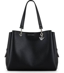 emporio armani black shopping bag with charm