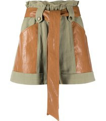 twin-set belted flared shorts - green