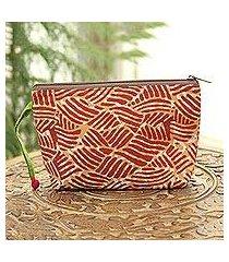 batik cotton cosmetic bag, 'creative design in russet' (india)
