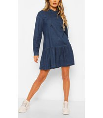 chambray hooded frill detail dress, mid blue