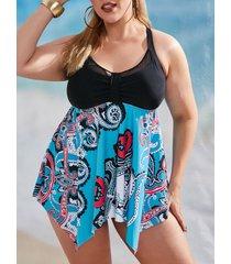 plus size octopus mesh panel hanky hem tankini swimwear