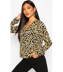duty print twist front blouse, navy