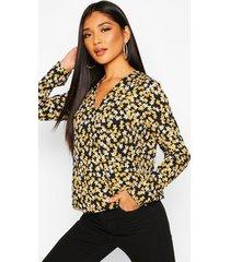 duty print twist front blouse, navy