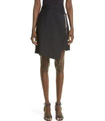 women's givenchy g-chain asymmetrical faux wrap skirt, size 12 us - black