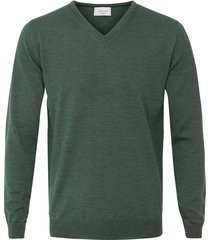 profuomo trui merino forest green v-neck