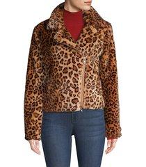 rebecca minkoff women's hudson leopard faux calf hair jacket - leopard multi - size m