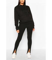 skinny broek met rits aan voorkant en split, zwart