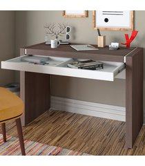 mesa escrivaninha mille 1 gaveta avelã/branco - artany