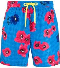 diesel floral-print swim shorts - blue