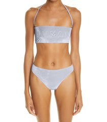 balmain logo embossed two-piece swimsuit, size 8 us in light grey at nordstrom