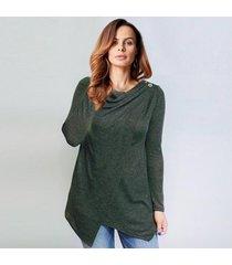zanzea rebeca de las mujeres del otoño del o cuello flojo ocasional blusas camisas sólido de la manera asimétrica hem blusas outwear (verde del ejército) -verde