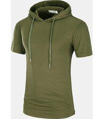 t-shirt con cappuccio casual da uomo con coulisse a media lunghezza a vestibilità regolare