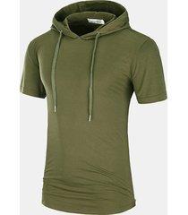 t-shirt con cappuccio casual da uomo con coulisse a metà lunghezza vestibilità regular