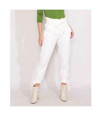 calça de sarja feminina clochard jogger cintura super alta off white