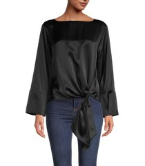 cinq à sept women's boatneck silk blouse - black - size xs