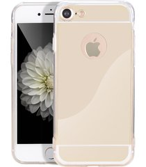 stylish shock defense hd reflective mirror case apple iphone 7 (gold)