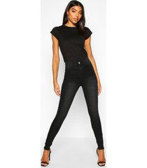 tall raw hem washed high rise jegging, black