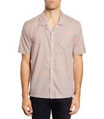 men's bldwn cabus slim fit windowpane short sleeve button-up camp shirt, size large - pink