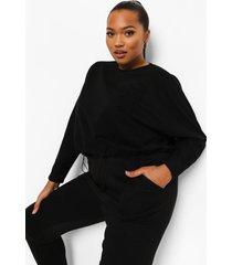 plus loopback trui met vleermuismouwen en lus, zwart