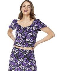 blusa crop manga globo i morado flores mujer corona