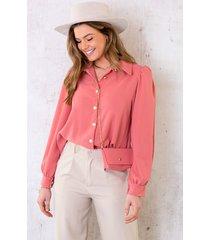 blouse met gouden knopen dust roze