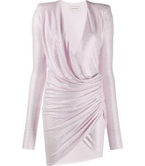 alexandre vauthier crystal-embellished draped mini dress - pink